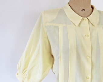 80's / 90 s whenever banana yellow pleated silk blouse - elegant classic button down collared shirt Blouse in yellow silk