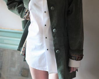 Vintage green leather jacket, Rustic Suede Jacket 80 of green Leather suede oversized vintage suede coat jacket