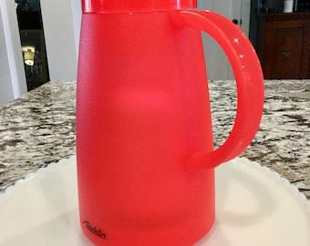 Red Aladdin Thermos Carafe//Coffee Carafe//Made in Belgium//Beverage Butler//Retro Red Carafe//Vintage Aladdin Carafe