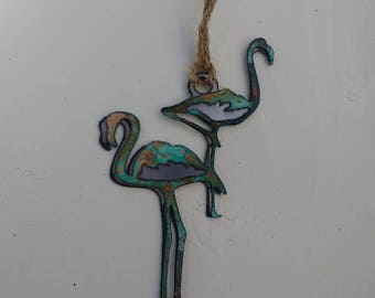 Patina Flamingos Ornament