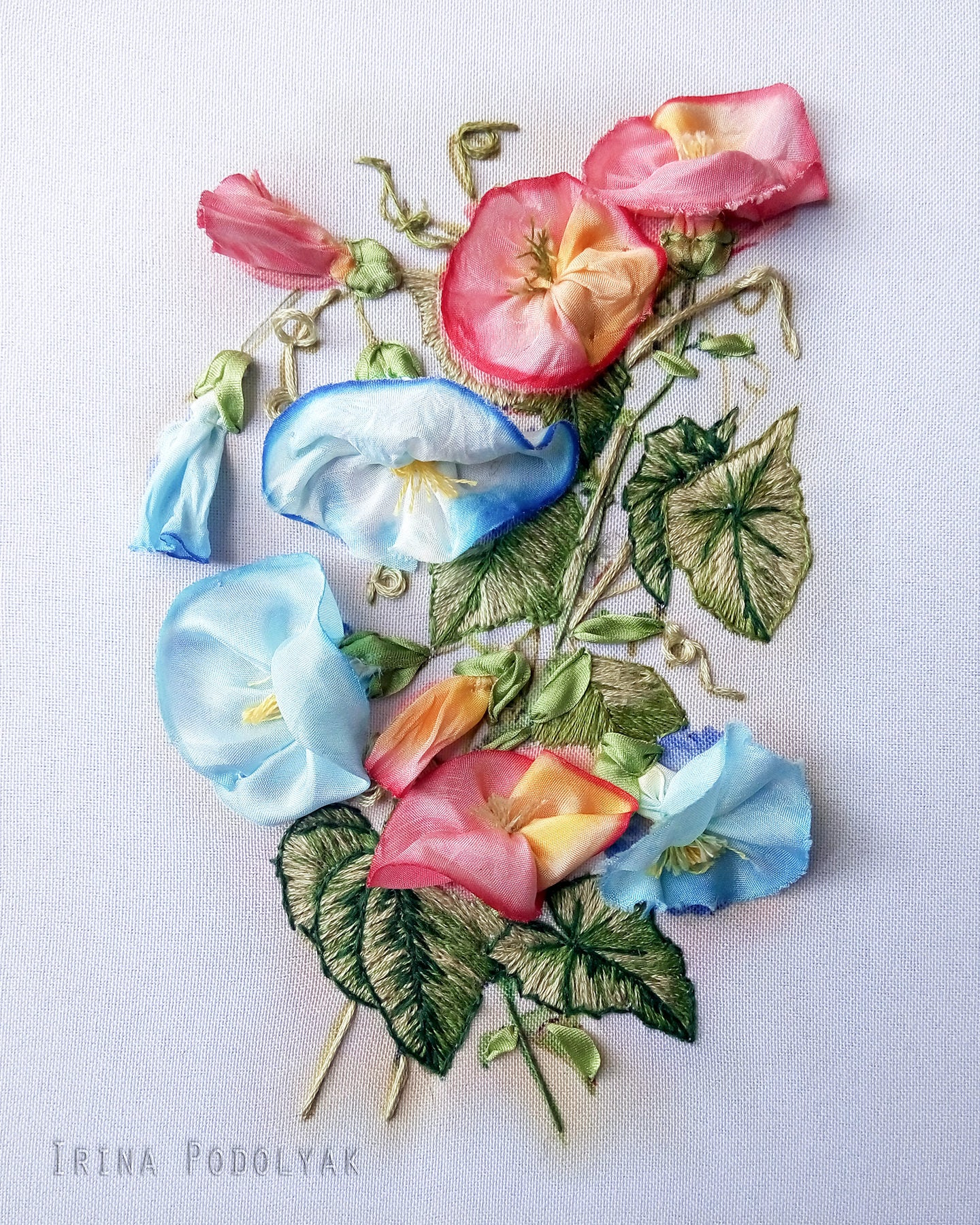 Silk ribbon embroidery kit bindweed