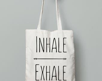 Tote bag canvas, Inhale Exhale, Yoga bag, Yoga gifts, Gift for yogi, Cotton tote bag, Shopping bag, Gift for her, Shoulder bag, Quote, tote
