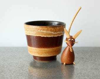 Small Ceramic Plant Flower Pot Retro Brown & Caramel Salt Glaze Lava Striped Vintage German Carstens Scheurich Pottery