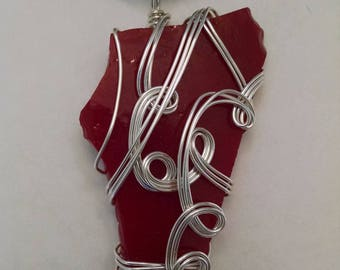 Red stained glass wire wrapped pendant necklace