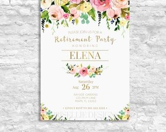 Retirement Party Invitation, Floral Retirement Party Invitation, Printable  Retirement Party Invitation, Retirement Invite