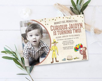 Curious George Birthday Invitation, Curious George Birthday Invitation With Photo, Monkey Birthday Invitation with Photo, Curious George