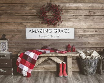 Christian Wood Sign - Amazing Grace Wood Sign - Christian Home Decor - Farmhouse Sign - Christian Gifts - Wood Wall Art