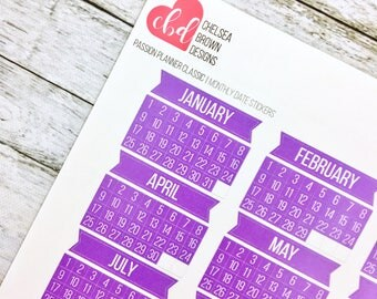 Monthly Dated Stickers | Passion Planner Stickers for the Classic and Compact Size