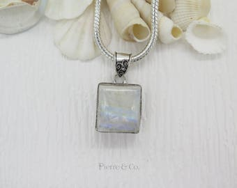 Vintage Rainbow Moonstone Sterling Silver Pendant with Chain