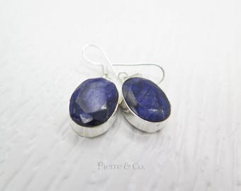 28 Carats Raw Cut Sapphire Sterling Silver Earrings