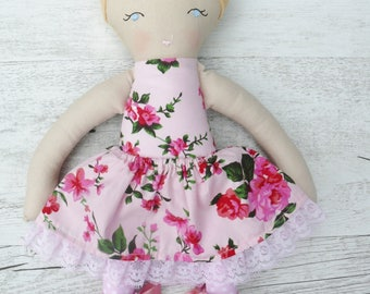 "Mabel - Handmade rag doll, 38cm (15""), fabric doll, cloth doll, gifts for girls."