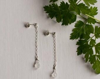 Rainbow Moonstone Earrings, dainty gemstone jewelry gift, moonstone earrings, moonstone jewellery for women, minimal earrings for her