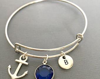 Custom September Birthstone Bangle, September Gifts, Charm Bangle Bracelet, Birthday Jewelry Gift, Bangle Bracelets Gifts, Customized Bangle