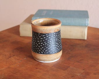 Carved porcelain waves cup in Sienna. Coffee cup, tea cup, tumbler, whiskey glass, mug.