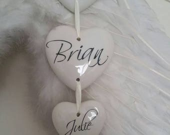 Family plaque - sign - pendant - family name - hearts - china - names - hanging hearts - personalised - family - Heart - ceramic - sign