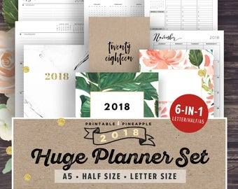 2018 Planner Printable - 2018 Agenda, 2018 Weekly Planner, Filofax A5 Planner Pages, Monthly Calendar, Half Letter Size, Yearly