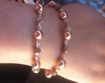 double stranded beaded bracelet with Swarovski pearls