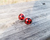 Red Earrings, Little Girl Earrings, Ladybug Earrings, Miraculous Ladybug Anime, Red and Black Earrings, Red Pearl Earrings, Ladybug Stud