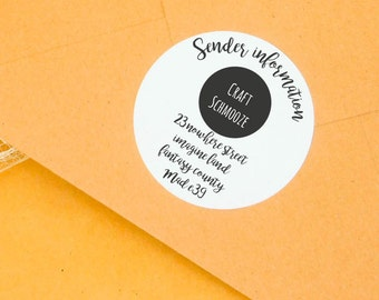 Round personalised return address label, logo address sticker, return sticker, mailing labels, custom stickers, personalised label, return