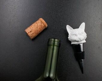 Cat Bottle Stopper, White