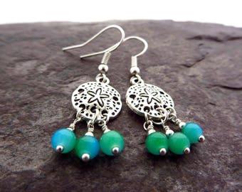 Sand dollar earrings, beachy jewelry, beach wedding earrings, summer earrings, bridesmaid earrings, aqua blue sea glass jewellery, holiday