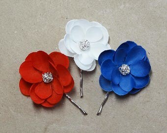 patriotic hair pins, red white and blue hair accessories, july 4th apparel, american flag clothing, july 4th hair pins, red hair flower