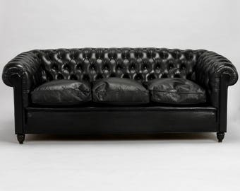 English Mid-Century Black Leather Tufted Chesterfield Sofa [8140]