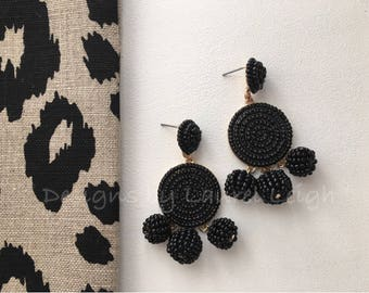 BLACK Beaded Pom Pom Dangle Earrings | statement earrings, posts, bonbon, dressy