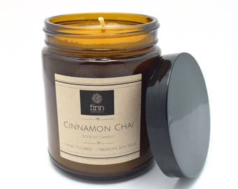 Hand Poured Premium CINNAMON CHAI Scented Soy Candle ~ Perfect For Fall ~ 9 oz