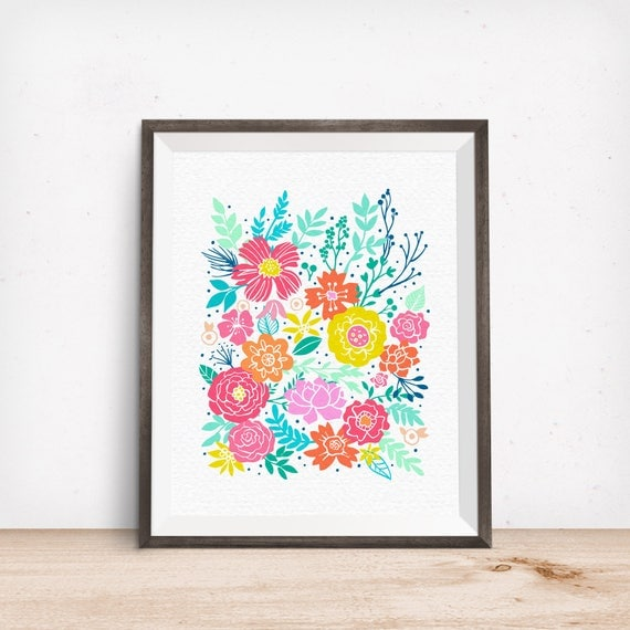 Printable Art, Flower Bunch, Pattern, Modern Art, Minimalist Art, Art Printable, Home Decor, Digital Download Print