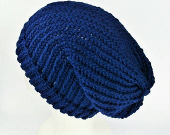 Slouchy wool beanie, blue summer beanie, summer slouch hat, vegan slouch hat, woman slouchy hat, hats for dreads, bohemian hats, lelsloom