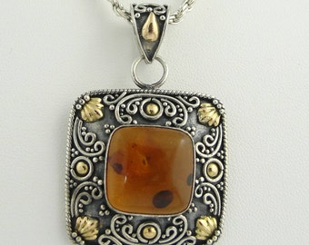 Vintage Square Amber Pendant- Sterling Silver