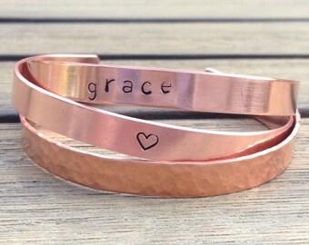 Set of Copper Bracelets, Copper Bracelet set, Cuff Bracelet Set, Hammered Copper Cuff, Personalized bracelets for women, Copper Bracelet