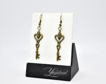 Steampunk copper earrings - Love keys