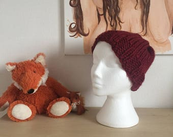 Hand-Knitted Chunky Wine/Berry-Red Beanie Hat