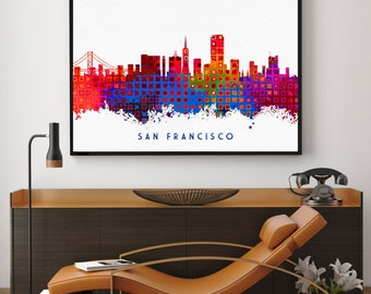San Francisco Skyline, San Francisco Art, San Francisco Print, Skylines Print, Wall Art Decor, Home Decor, Giclee (N123)
