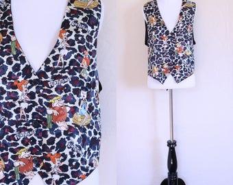 Vintage Flintstones The Flintstones Fred Flintstone Wilma Flintstone Button Up Vest Cartoon Vest Cheetah Print Vest Tie Back Vest