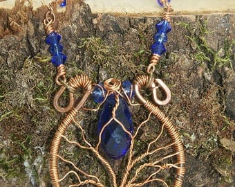 tree of life necklace, faceted crystal blue, copper