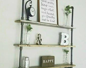 Larger Shelving Unit, Industrial Pipe Shelving- Lots of Options to make it your own!