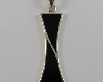 Sterling Silver and Black Onyx Rectangular Shaped Pendant