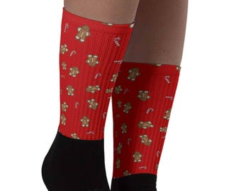 Christmas Socks - Gingerbreadman Socks - Christmas Gift - Stocking Stuffer - Winter Socks