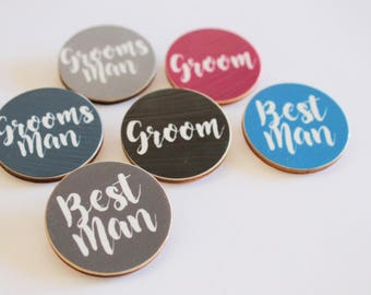 Custom Wooden Party Badges - Stag Party Bucks Night Bachelor Parties - Groomsmen Badge - Suit Accessories - Birthdays Engagement Parties