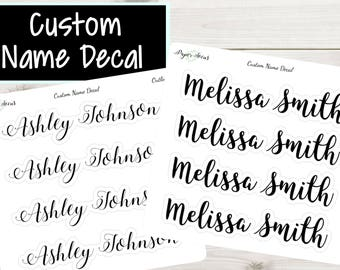 Custom Name Sticker   Shape Outline   Planner Stickers