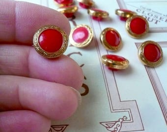 Round Red Glass Buttons Sewing Buttons Czech Glass Buttons Clothing Buttons By VintageStudioSupply