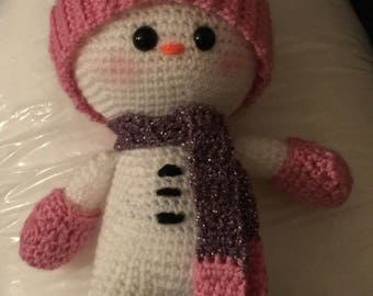Snow girl doll, crocheted doll, Weebee Doll looking for a new home