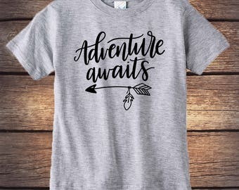 Adventure Awaits Shirt - Camping Shirt - Wilderness Shirt - Kids Birthday Gift - Outdoors Shirt - Happy Little Camper - Hiking Shirt - Camp