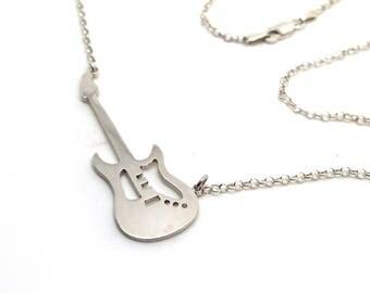 Guitar necklace.Silver guitar.Guitarist necklace.Silver charm guitar.Guitar gift.Guitar pendant.Guitarrist gift.Electric guitar.Music jewels