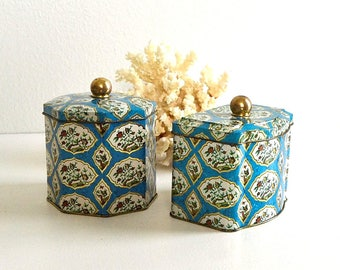 vintage set of tea tins England tins blue gold butterfly bird tins tins set containers vintage storage containers