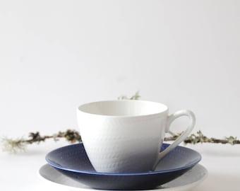 Hertha Bengtson Rorstrand Bla Eld / Blue Fire. Teacup, saucer and plate. Swedish Design. Scandinavian modern