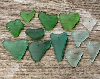 12 genuine sea glass heart beads jewelry findings bohemian findings earing findings necklace findings jewelry accessories green pendants